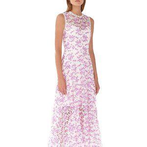 Monique Lhuillier lilac white lace midi dress 2